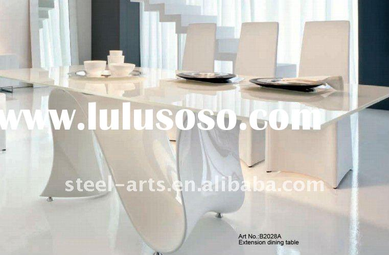 white glass dining table with wood base