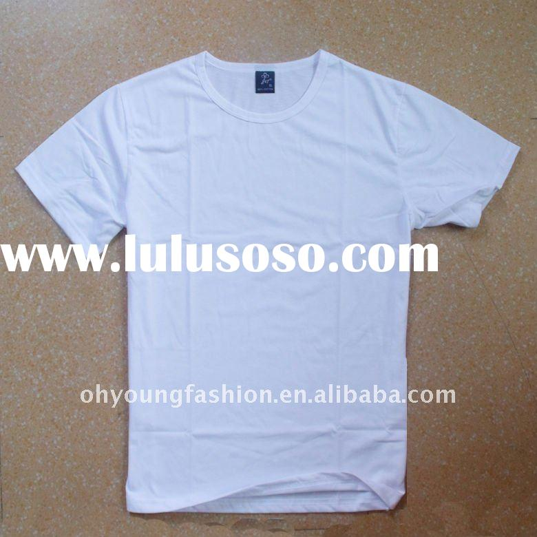 wholesale cheap 100 cotton blank white t shirts plain for men 140gsm short sleeve o neck