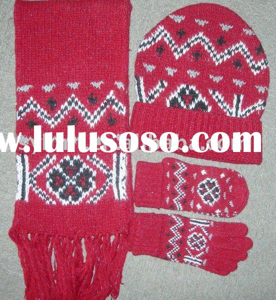 women 30%acrylic 70%wool jacquard Scarf Hat & Glove Sets QSY8013