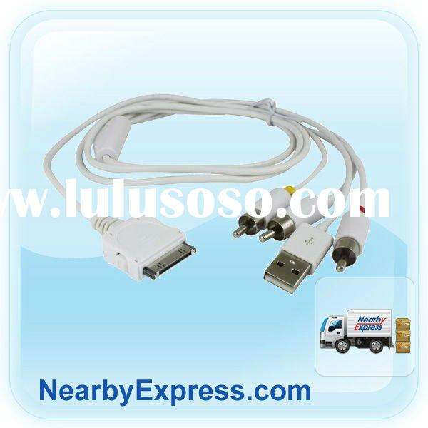 0.5M Dock Connector to Composite AV cable with USB for iPad iPhone iPod