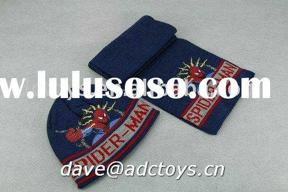 100% Acrylic Blue Jacquard Spider-man Printing Cheap Fashion Kids Winter Knitted Hat And Scarf Set