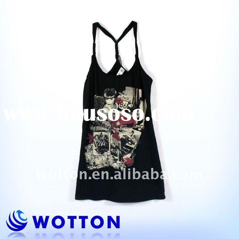 100%cotton knitted printed fashion girls tank top with new bank design