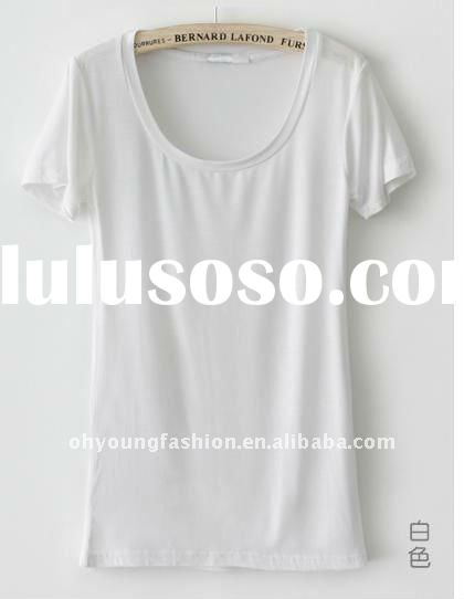 140grqam custom fashion stylish spandex cotton single jersey shortsleeve women blank design white ri