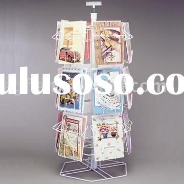 18 Pocket Counter Top Spinning Greeting Card Display Rack with Sign Holder