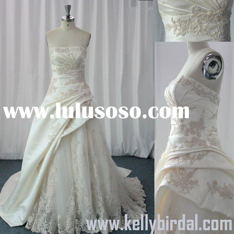 2010 Hot Style Asymmetric Strapless Ball Gown Wedding Dress (KB-C101)