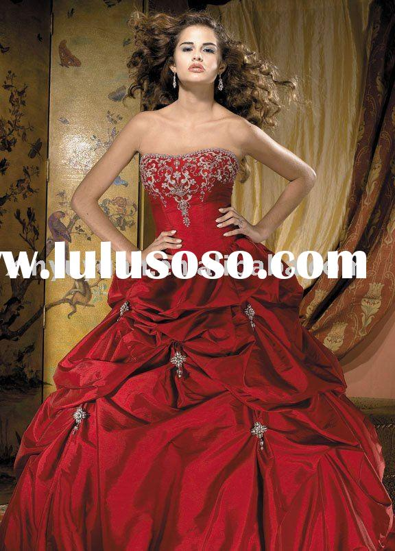 2010 vintage China red ball gown style wedding dresses ALW-089
