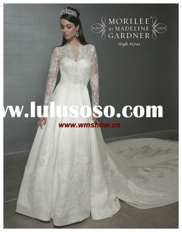 2011 Beautiful Hot Sale Ball Gown Long Sleeve Lace Wedding Dress Jackets