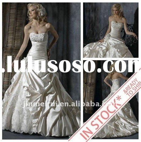 2011 Brand New Designer A-010 Exquisite A-line Handmade Flower Satin Floor lenght Wedding Dresses