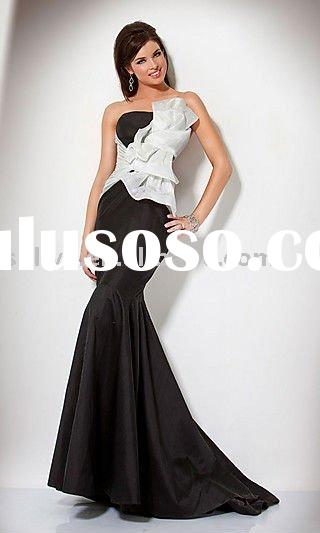 2011 Hot Sale Cheap Wholesale black Taffeta sleeveless Prom Evening/Party Dresses/Gowns wlf551
