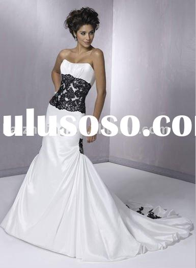 2011 Latest design two-tone lace A-Line Bridal Gown wedding dress