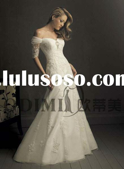 2011 Modest Sheath Off-shoulder Spanish Lace Wedding Dress