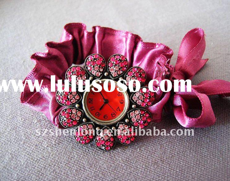 2011 New style fashion lady's watch with satin ribbon band