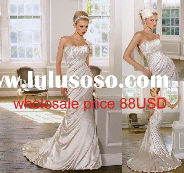 2011 Newest Popular &Discount Trumpet /Mermaid Scooped Neck Wedding Dresses MLW-366
