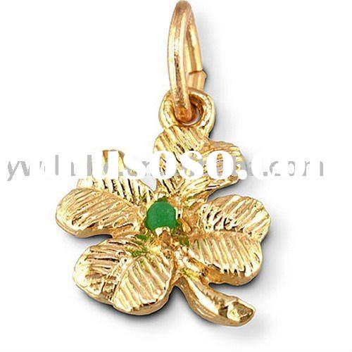 2011 fashion elegant gold plated green stone four leaf clover alloy charms 181006