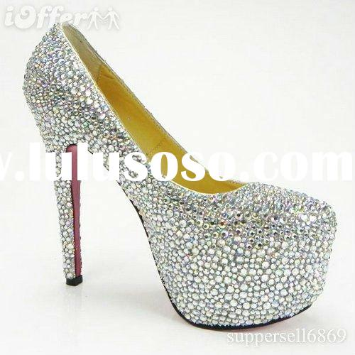 2011 latest high heel beautiful women platforms shoes with crystal
