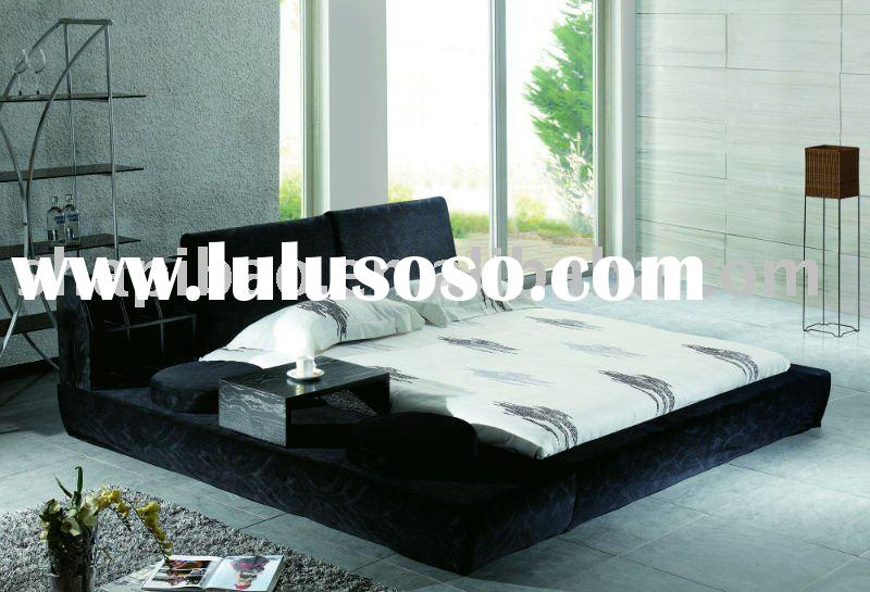 2011 modern bedroom furniture leather full size soft bed sets V9022