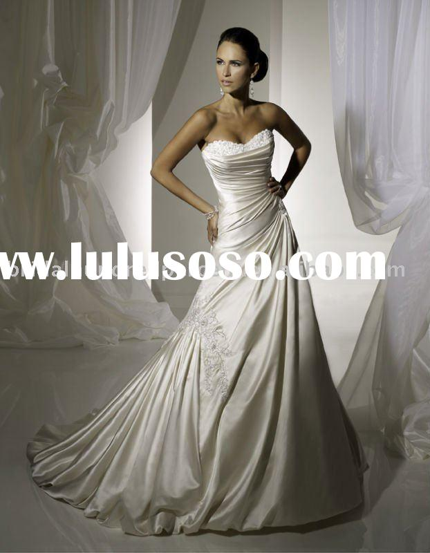 2011 wholesale glorious Jewish crystal & pearl beading cathedral train wedding dress/bridal gown