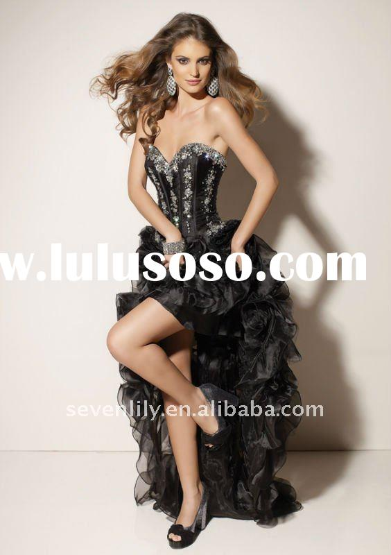 2012 New black Strapless Delicately short front long back dresses