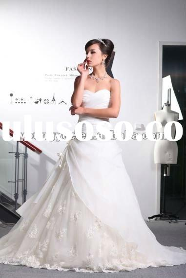 2012 New dream off shoulder sweetheart neckline satin and lace A line wedding dress for bridal(JWD00
