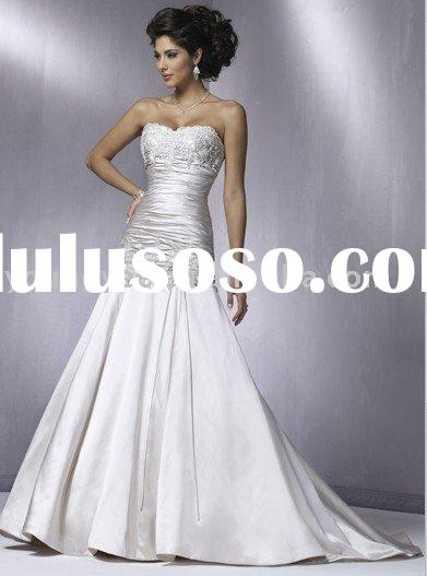 2012 New style Strapless luxurious sweetheart neckline satin and lace A-line wedding dress(WD10198)