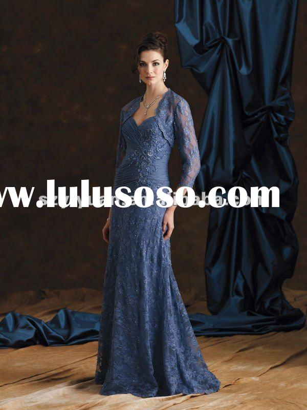 2012 latest crystal beaded lace long sleeve royal blue mother of the bride dresses