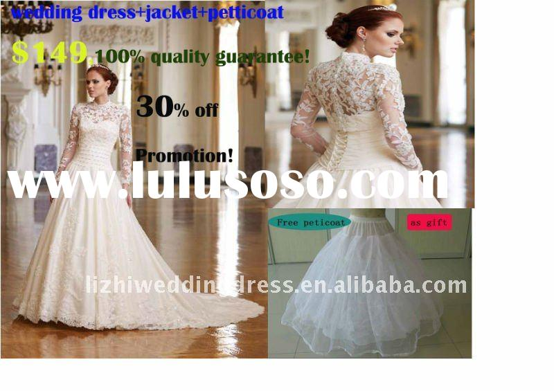 2012 popular high neck long sleeve muslim style chapel train long sleeves cheap lace wedding dress J