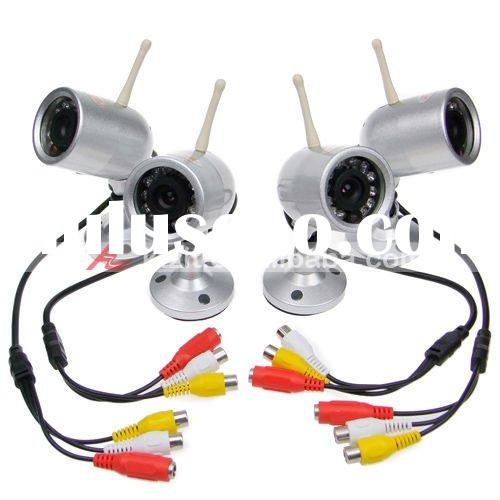 2.4GHz 4-CH Rotatable Wireless Surveillance Camera w/ Night Vision + Microphone (4-Camera Set)