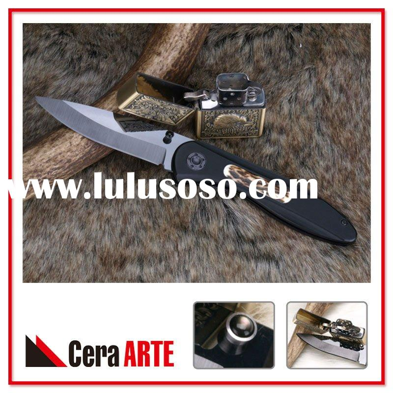 """3.25"""" ceramic folding knife (mirror polished blade with Aluminum/Stag inlay handle)"""