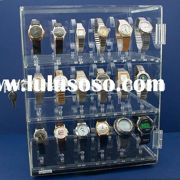 3 Tier Acrylic Watch Display Stand;Acrylic Watch Showcase Display;Acrylic Revolving Watch Display Ca