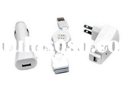 3 in 1 USB Travel Wall Home Charger Kits AC Adapter for iPhone iPod Touch