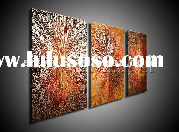 3 pieces modern bright color abstract painting