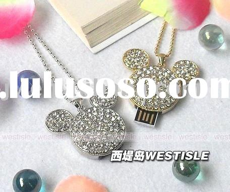 8GB Full Rhinestone Crystal Mickey Head USB Flash Memory Drive Bracelet Pendant necklace jewelry
