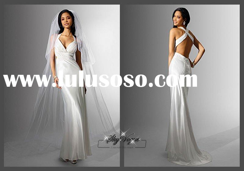 AA16549*Sheath Spaghetti Strap White backless wedding dress