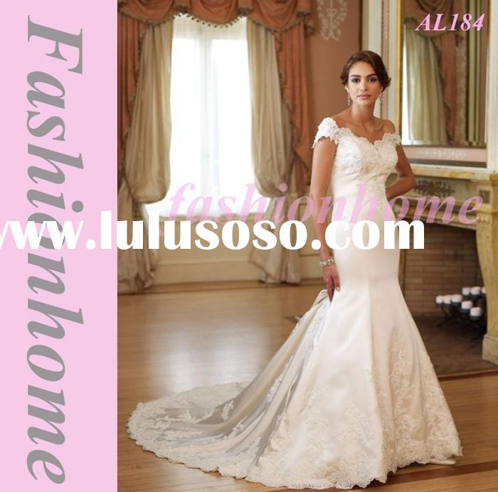 AL184 Off the shoulder mermaid Appliqued Wedding dress