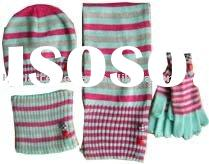 Acrylic Knitted Children Set With Beanie, Headband, Scarf, and Gloves in Stripe Optic