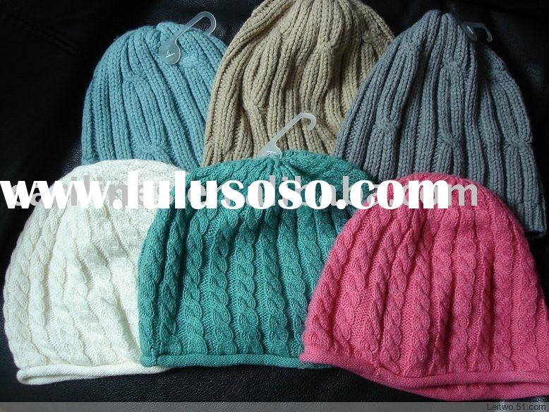 Acrylic/cashmere/wool ladies winter fashion knitted/knitting hat
