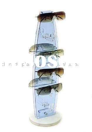 Acrylic counter top rotating sunglass display rack