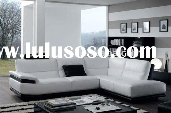 American style leather modern living room black and white sofa