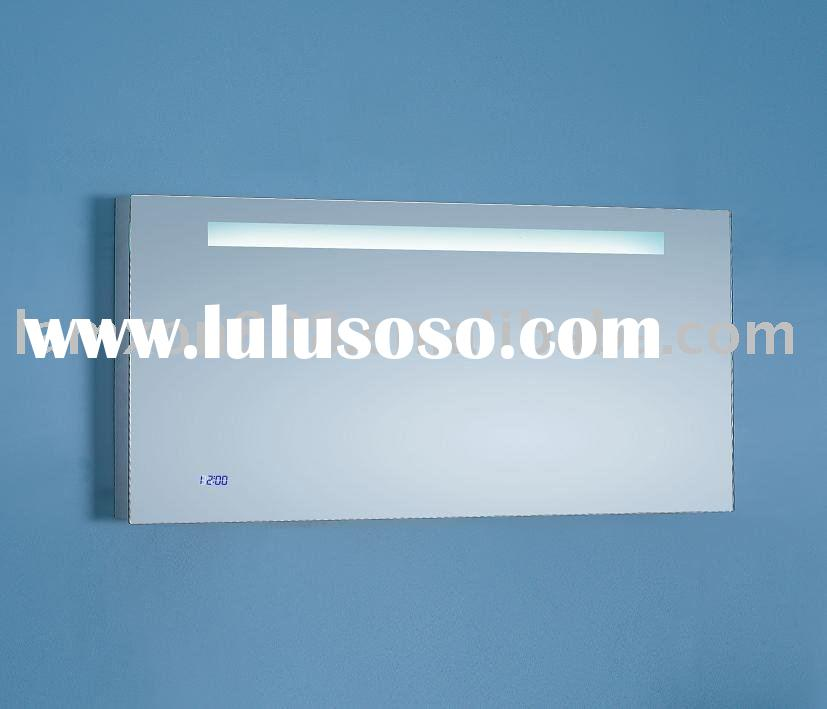 Anti-fog bathroom mirrors with digital clock