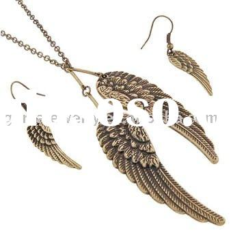 Antique Gold Plated Angel Wing Jewelry Earring and Necklace Set
