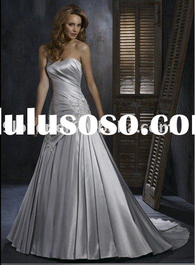 Appliques Satin WD156 luxury Vintage Wedding Dress