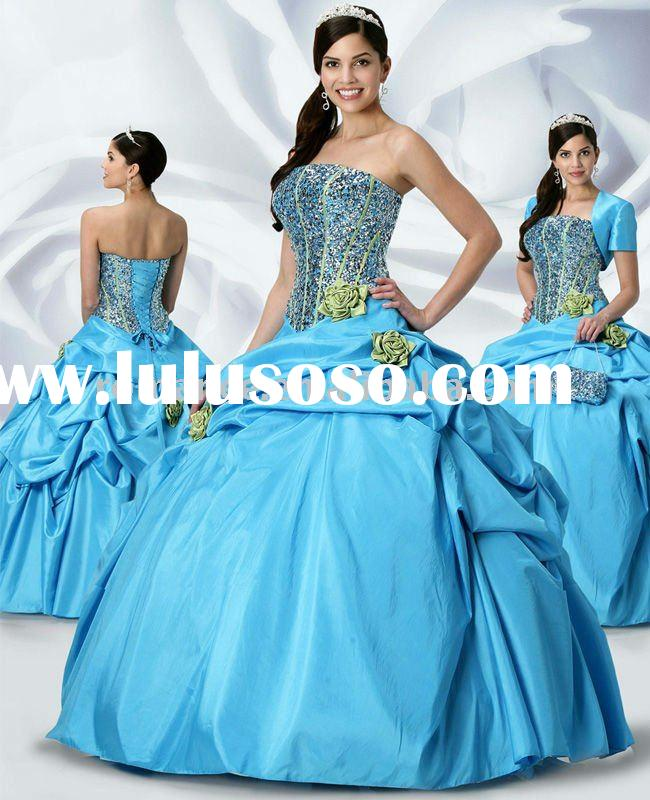 BG577 Beautiful Strapless Taffeta Beadings Girls Ball Gown Quinceanera Dresses
