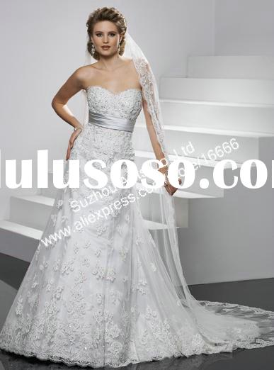 BN484 New White A-line empire waist lace Wedding dresses