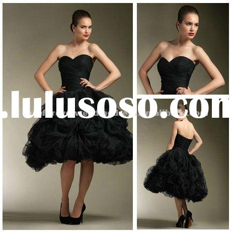 Ball Gown Knee Length Tulle Short Black Wedding Dress