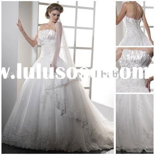 Beautiful BN318 White Strapless Tulle Satin Sweep Train Ball Gown Luxury Bridal Wedding Dress