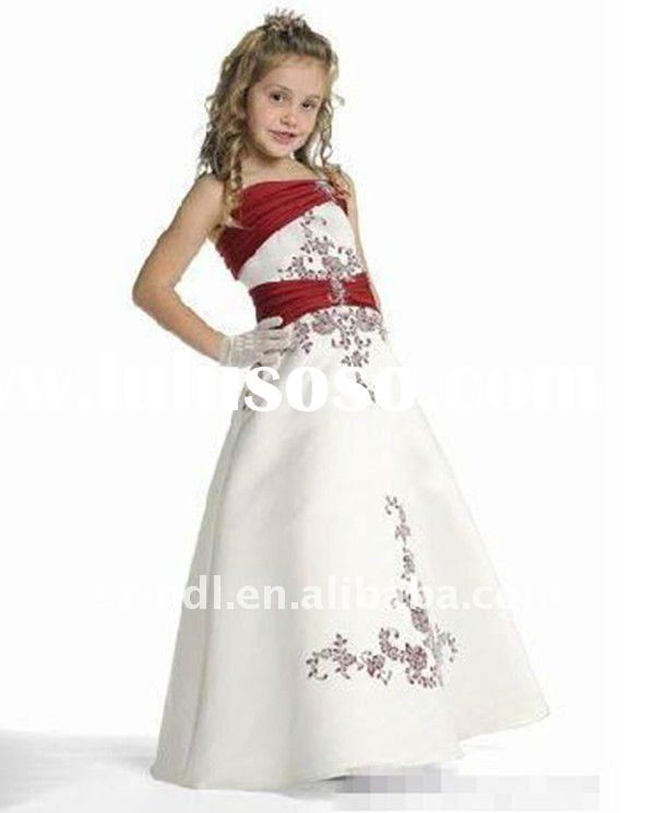 Beautiful spaghetti strap white and red appliqued long princess ball gown flower girl dress