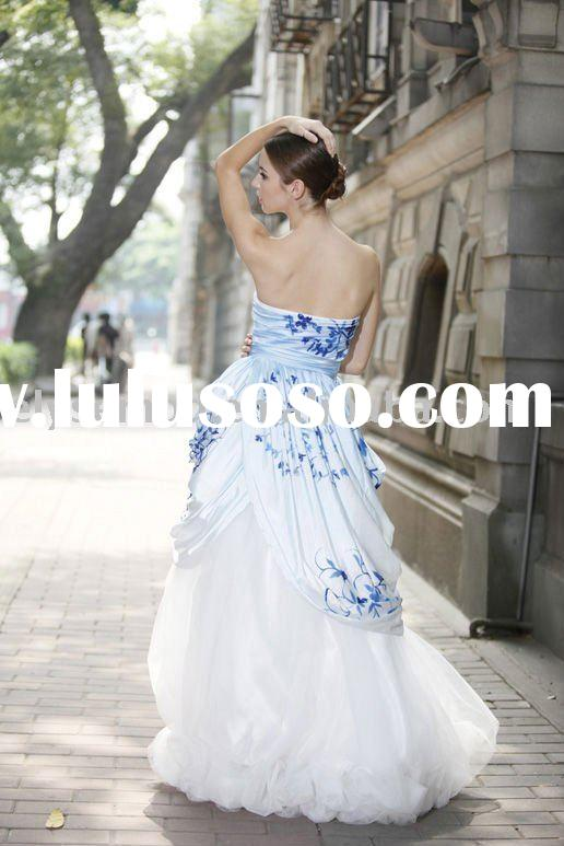 Belle in Blue Strapless Two-Layer Cheap Ball Gown evening dress