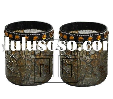 Black Crackle Mosaic Glass Votive Candle Holders with Bead Decorations