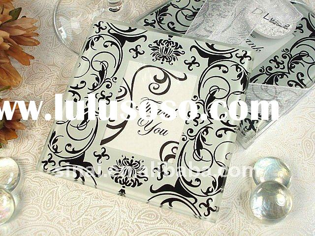 Black/White Damask Photo Glass Coaster