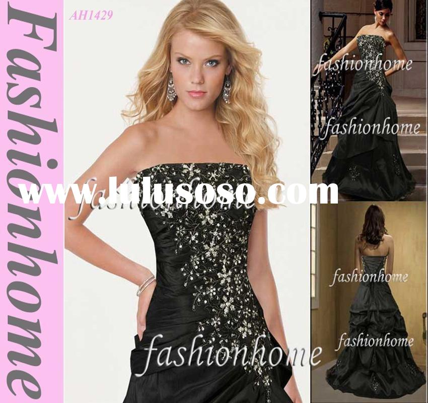 Black strapless appliqued beading sequin evening dress party dress AH1429